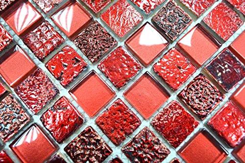 Mosaik-Netzwerk Quadrat Crystal/Stein/Resin mix rot Glas Naturstein Ornament Fliesenspiegel, Mosaikstein Format: 23x23x8 mm, Bogengröße: 60 x 100 mm, 1 Handmuster ca. 6x10 cm