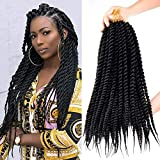 7 Pack Senegalese Twist Crochet Hair 18Inch Havana Twist Crochet Braids Soft Synthetic Braiding Hair Extensions For Black Women (18inch, 1B)
