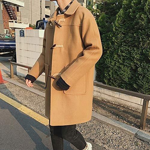 KUANGQIANWEI Męskie płaszcze męskie zimowe rogi klamra wełna wełniany męski płaszcz męski długi z kapturem wiatrówka gruby wiatrówka kurz płaszcz trencz męski (kolor: Khaki, rozmiar: XXXL)