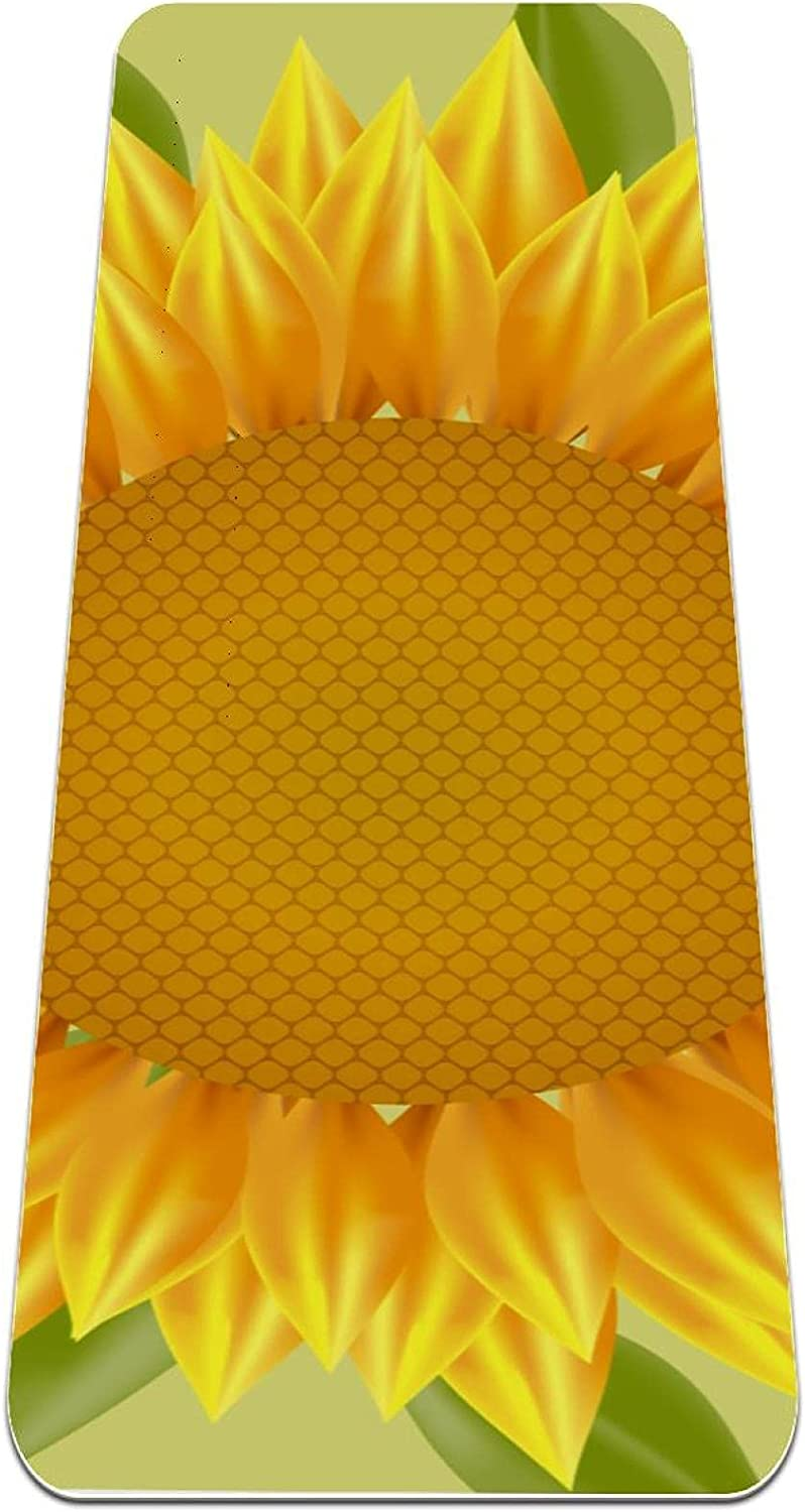 Limited Popularity time trial price Yoga Mat Big Yellow Sunflower Flower Non Slip Thick suitable for