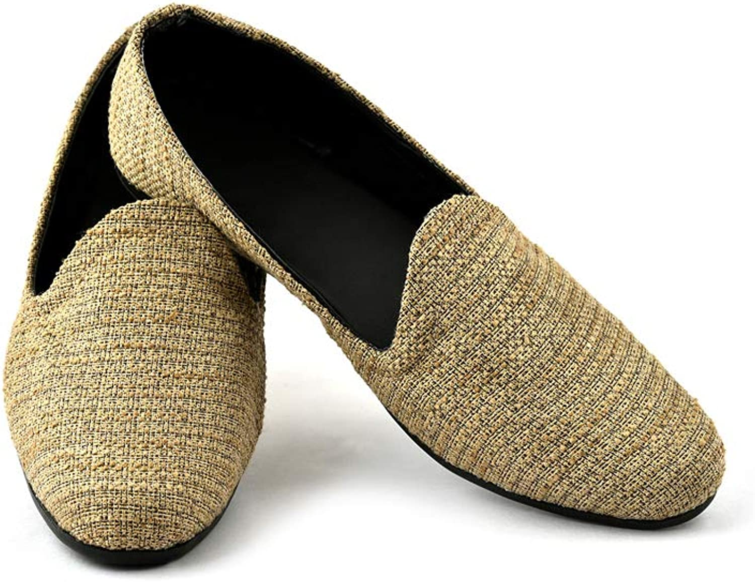 Lalhaveli Men's Modern Plaid Driving shoes Brown color Slip On Loafers