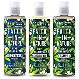 Faith In Nature Hemp and Meadow Shampoo, Conditioner and Shower Gel Trio Pack