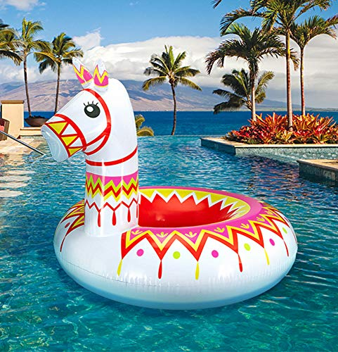 Geefuun Llama Pool Float Party Inflatable Alpaca Pinata Ride On Beach Swimming Ring Fiesta Mexican Water Toys Supplies for Adults