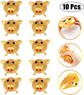 YBB 10 Pcs Splat Pig Toy Ball, Anti-Stress Decompression Splat Vent Toys Smash Pig Sticky Toys Bouncy Water Balls Stretchy Squeeze Funny Toy for Adults Kid