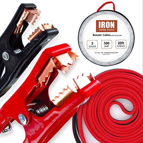 Iron Forge Tools 20 Foot Jumper Cables with Carry Bag - 2 Gauge, 500 AMP Booster Cable Kit
