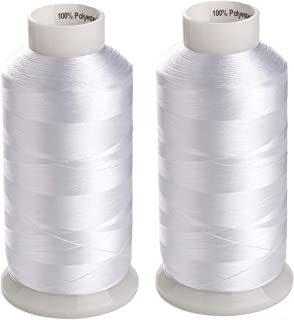 Simthreads 2 Huge Spools Spools White Bobbin Fill Thread 60WT for Embroidery Machine and Sewing Machine - 5500 Yards Ea