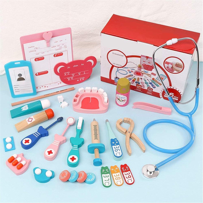 独立時代ロマンチックお医者さんごっこ カートンドクターツールボックスドクターのおもちゃセットシミュレーション聴診器医療キット教育玩具 誕生日 クリスマス プレゼント (Color : Pink, Size : One size)