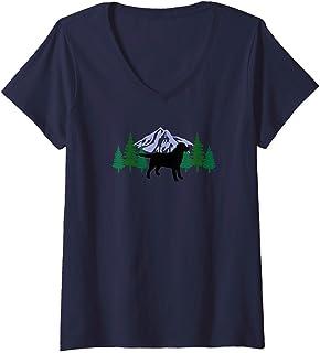 Womens Black Labrador Retriever Outline Silhouette Evergreen V-Neck T-Shirt