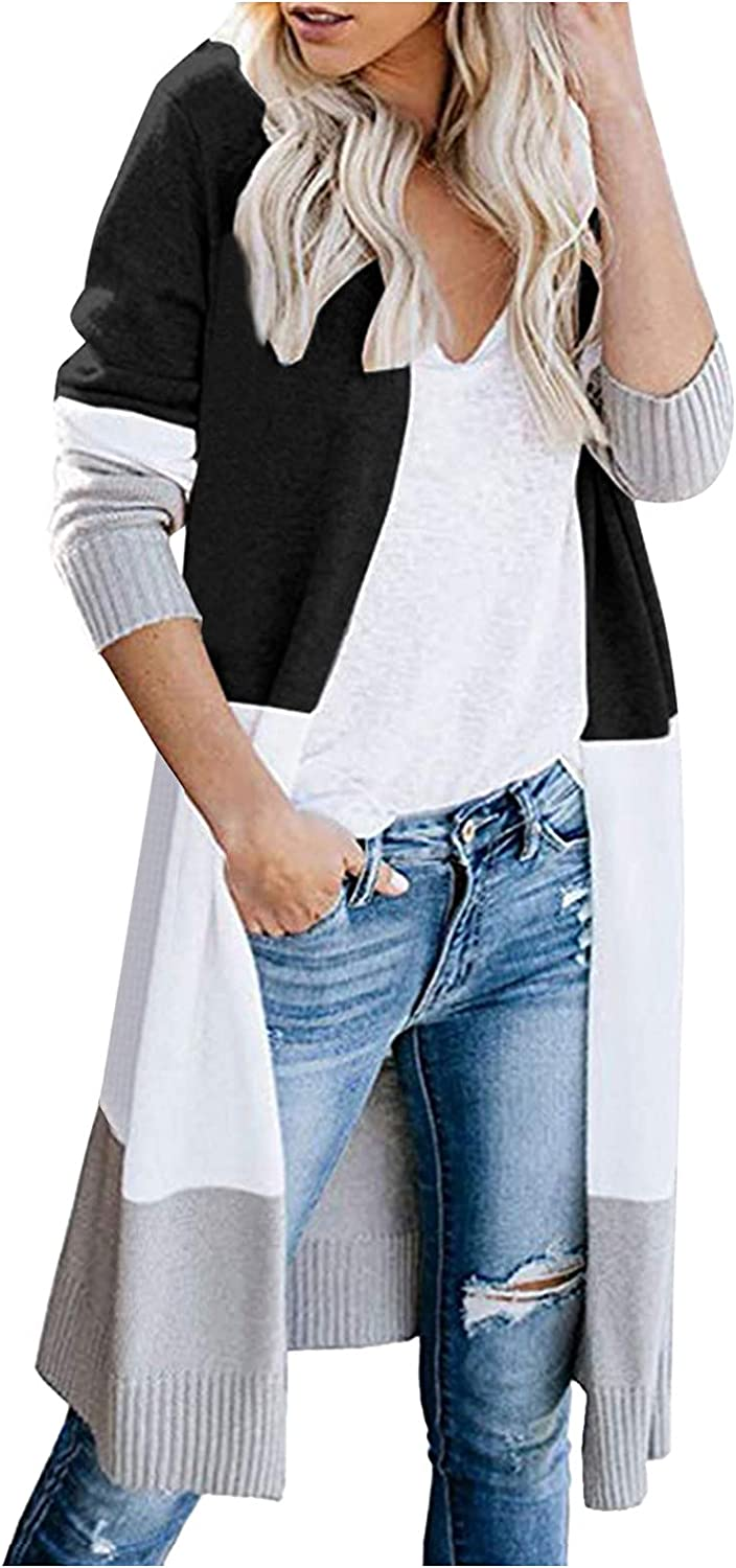 Xinantime Women Color Block Knitted Cardigan Striped Printed Long Sweater Open Front Fall Casual Coat with Pockets