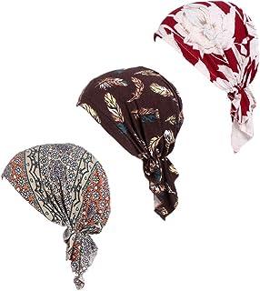 وشاح الرأس مربوط مسبقاً 3 عبوات قبعات صغيرة سهلة الارتداء بغطاء للرأس للنساء