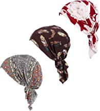 Pre Tied Chemo Head Scarf 3 Packed Beanie Skull Cover Cap for Women (Set2)