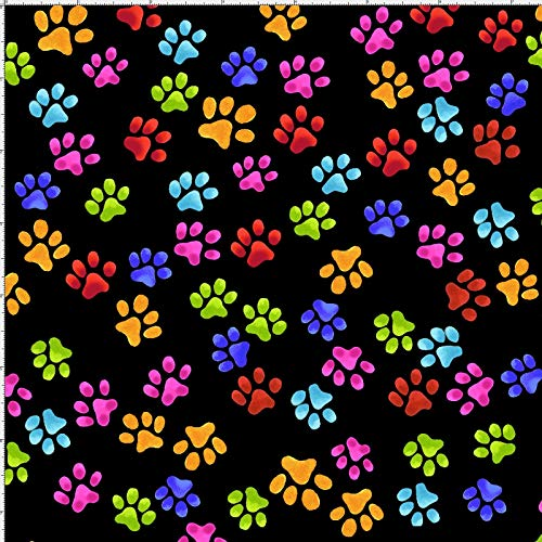 Loralie Designs - Paws Black Fabric by The Yard for Sewing - Loralie