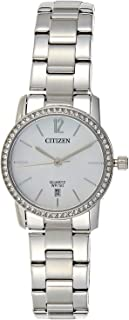 Citizen Women White Dial Stainless Steel Band Watch - EU6030-81D