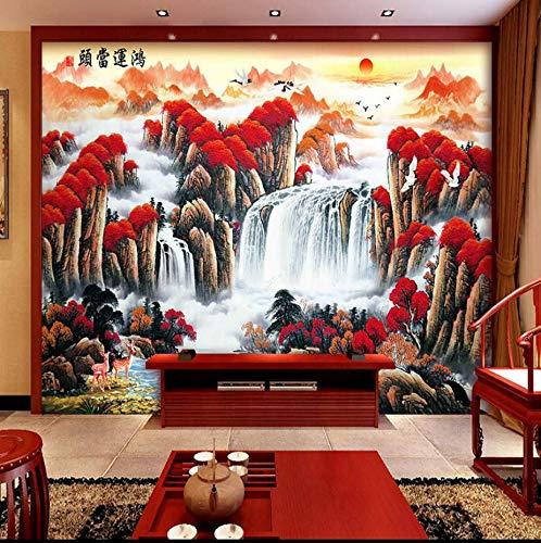 Sofà senza giunte del sofà della carta da parati del murale con Hongyun di stile cinese alla testa del sole che alza parete di fondo orientale di Fengshui, 300Cm * 210Cm