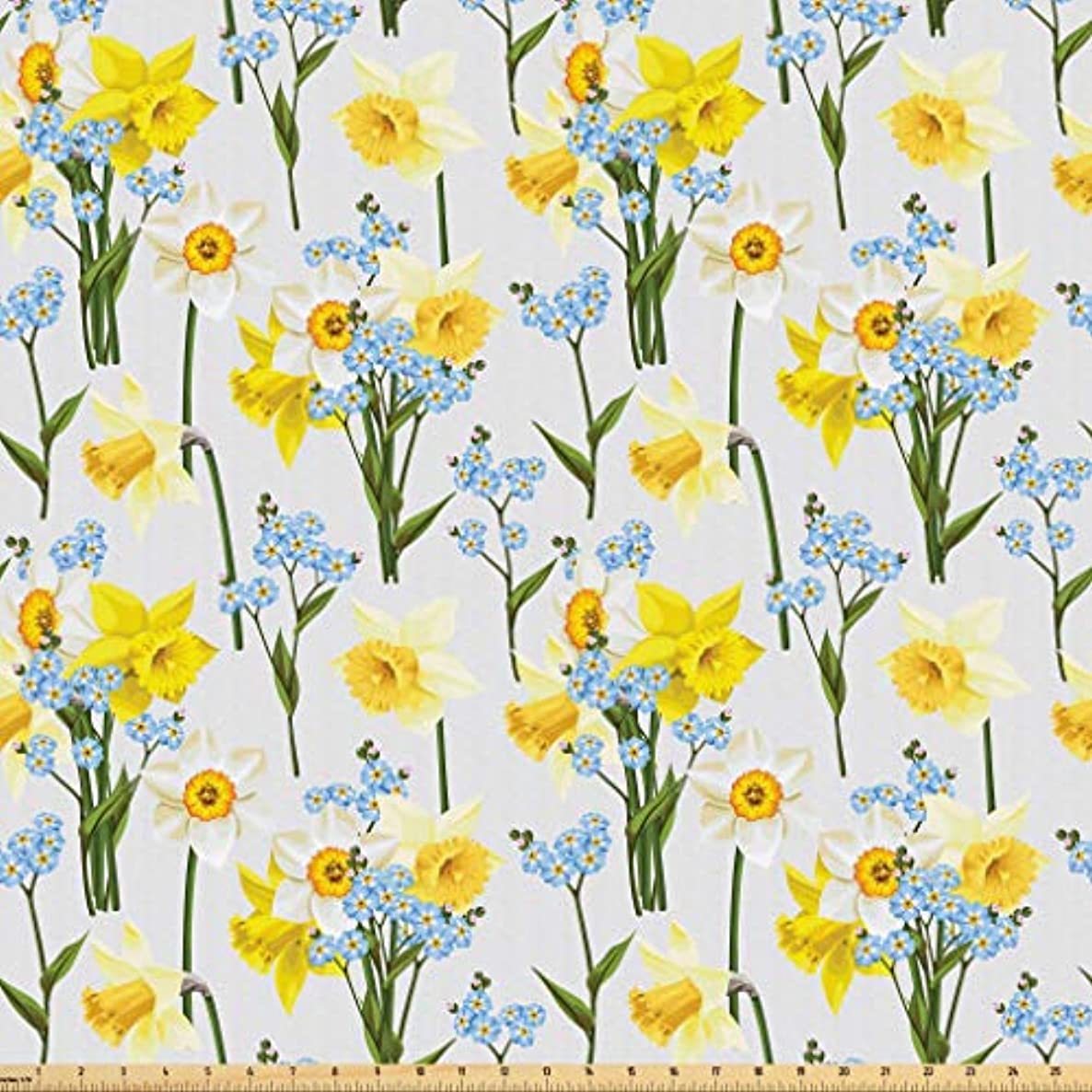 Lunarable Daffodils Fabric by The Yard, Forget Me Not Flowers and Daffodil Blossom Leaf Bouquet Spring Garden, Microfiber Fabric for Arts and Crafts Textiles & Decor, 3 Yards, Yellow Blue Green