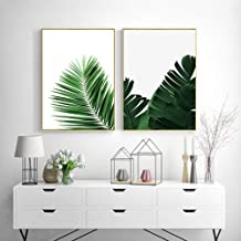 JHCH Canvas Pictures Green Leaves Wall Art Canvas Painting Monstera Palm Banana Posters and Prints Decorative Modern Picture Living Room Home Decor-40X60Cmx2 Pcs unframe