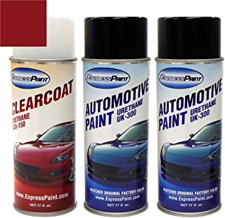 ExpressPaint Aerosol - Automotive Touch-up Paint for Ford Mustang - Laser Red Pearl Metallic Tri-Coat E9/M6688 - Color + Clearcoat Package