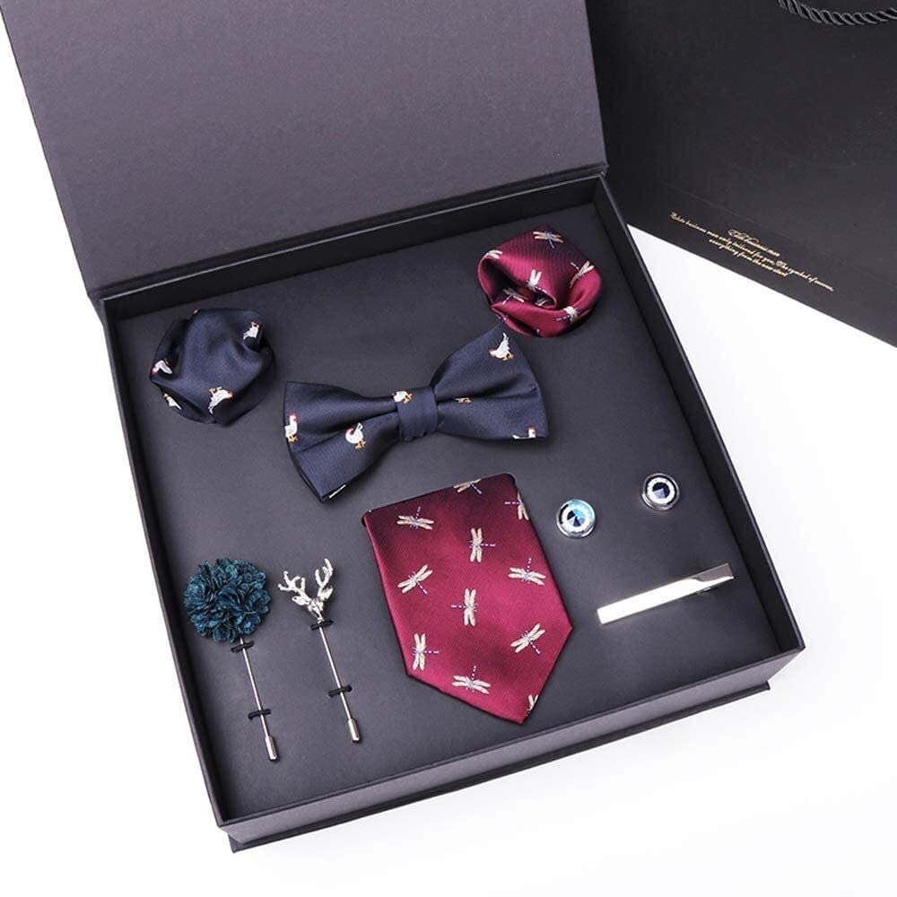 WYKDL Tie and Pocket Square Men's Woven Necktie Silk Handkerchief and Cufflink Set 7.5Cm Men Ties Handkerchief Cufflinks Necktie Set for Formal Wedding Business Party Set Gift Box Pack