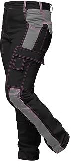 Elasticos Pantalones de Trabajo para Mujer Gris Negro. Pantalón de Trabajo Completo con Bolsillos para Rodilleras. Cremallera YKK + botón YKK - Hecho en la UE