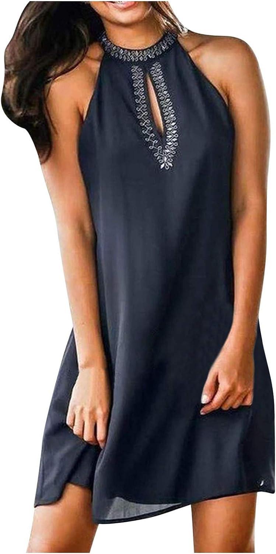 ONHUON Sundresses for Women Summer, Women Halter Neck Summer Casual Sleeveless Short Mini Dresses Beach Party Sun Dresses
