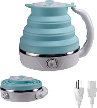 Collapsible Travel Kettle, Silicone Foldable Electric Kettle,0.6 Liter, Adjustable temperature control, (Blue 110V)
