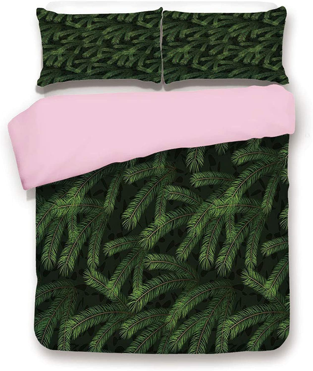 Pink Duvet Cover Set/Twin Size/Vivid Fir Pine Branches Trees Coniferous Trees Evergreen Nature Forest Decorative/Decorative 3 Piece Bedding Set with 2 Pillow Sham/Best Gift for Girls Women/Green Dark