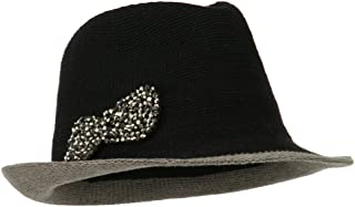 Trimmed Brim Bow Fedora - Black