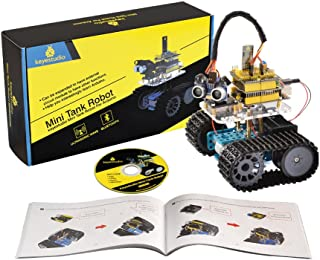 KEYESTUDIO Mini Tank Robot for Arduino Project, DIY Smart Car Kit with Development Board for Arduino UNO R3, Great Educational Stem Toys for Boys and Girls