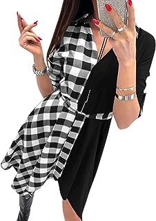 YOINS Vestito Elegante da Donna Manica Corta Abiti a Quadri Scollo a V Abito Scozzese da Cocktail