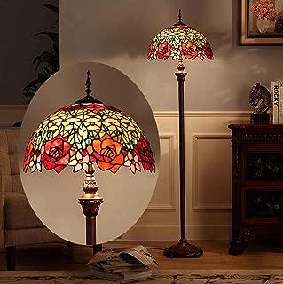 Tiffany Style 2-Light Floor Lamp with Red Rose Design Stained Glass Table Desk Standing Lighting for 16-Inch Living Room Bedroom Floor Uplighter,110-240V,E27