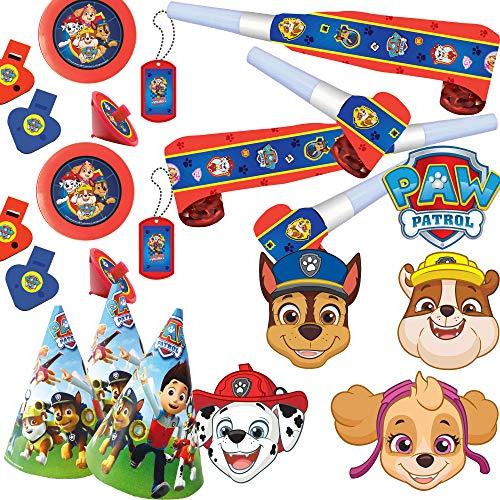 Neu 2019: 42-TLG. Mitgebsel- und Spiele-Set * PAW Patrol 2 * für Kindergeburtstag mit Masken + Hütchen + Blow-Outs + diverses Mitgebsel | Kinder Geburtstag Set | Hunde Mottoparty mit Ryder & Pfoten