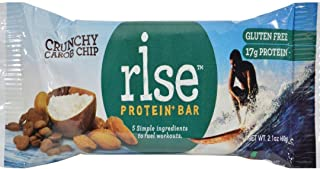 Rise Whey Protein Bar, Carob Chip Almond, Healthy Breakfast & Snack Bar, 17g Protein 5g Dietary Fiber, 4 Natural Whole Food Ingredients , Simplest Non-GMO, Gluten Free, Soy Free Bar