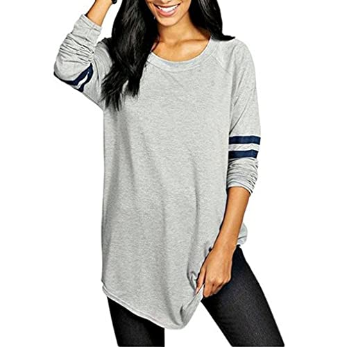 66ae85ff OURS Womens Crewneck Long Sleeve Baseball Long T-Shirt Tunic Tops