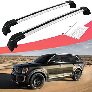 SnailAuto Aluminum Silver Cross Bars Fit for KIA Telluride 2019 2020 Lockable Roof Rack Baggage Rack