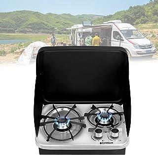 露营双燃烧器炉灶,RV 可折叠燃气灶具,带防风不锈钢盖,节省空间,易于清洁,适用于户外厨房家庭 RV 野餐