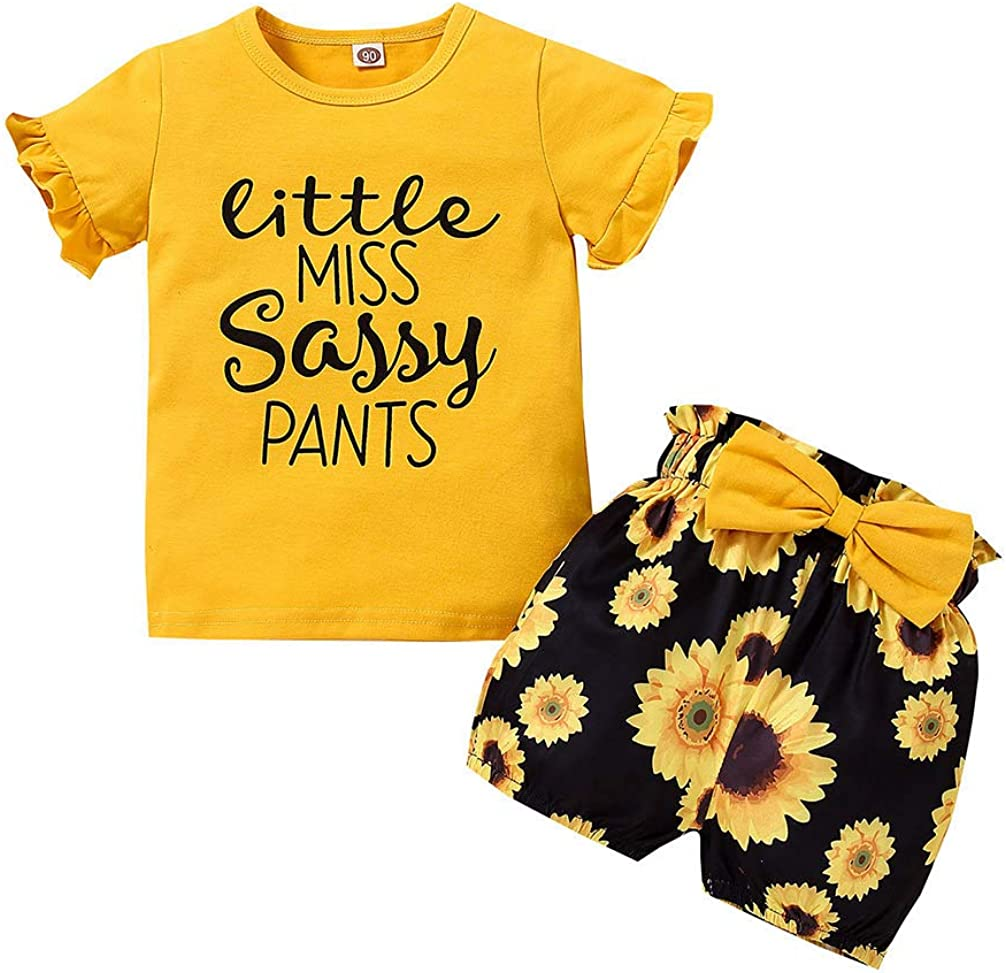 Little Miss Sassy Pants Outfit Toddler Girl Ruffle Tops Sunflower Bowtie Shorts