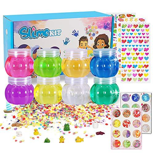 DIY Slime Kit, MMXT 45 Stück Fluffy schleim Supplies mit 8 Farben Kristallklarer Kürbisschleim Fruchtscheiben Zuckerpapier Tierform Werkzeuge Lernspielzeug für Kinder 3+