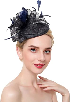 Color : Navy Blue AO European and American Style Wedding Hats with Veil Banquet Stage Headwear Bridal Headdress