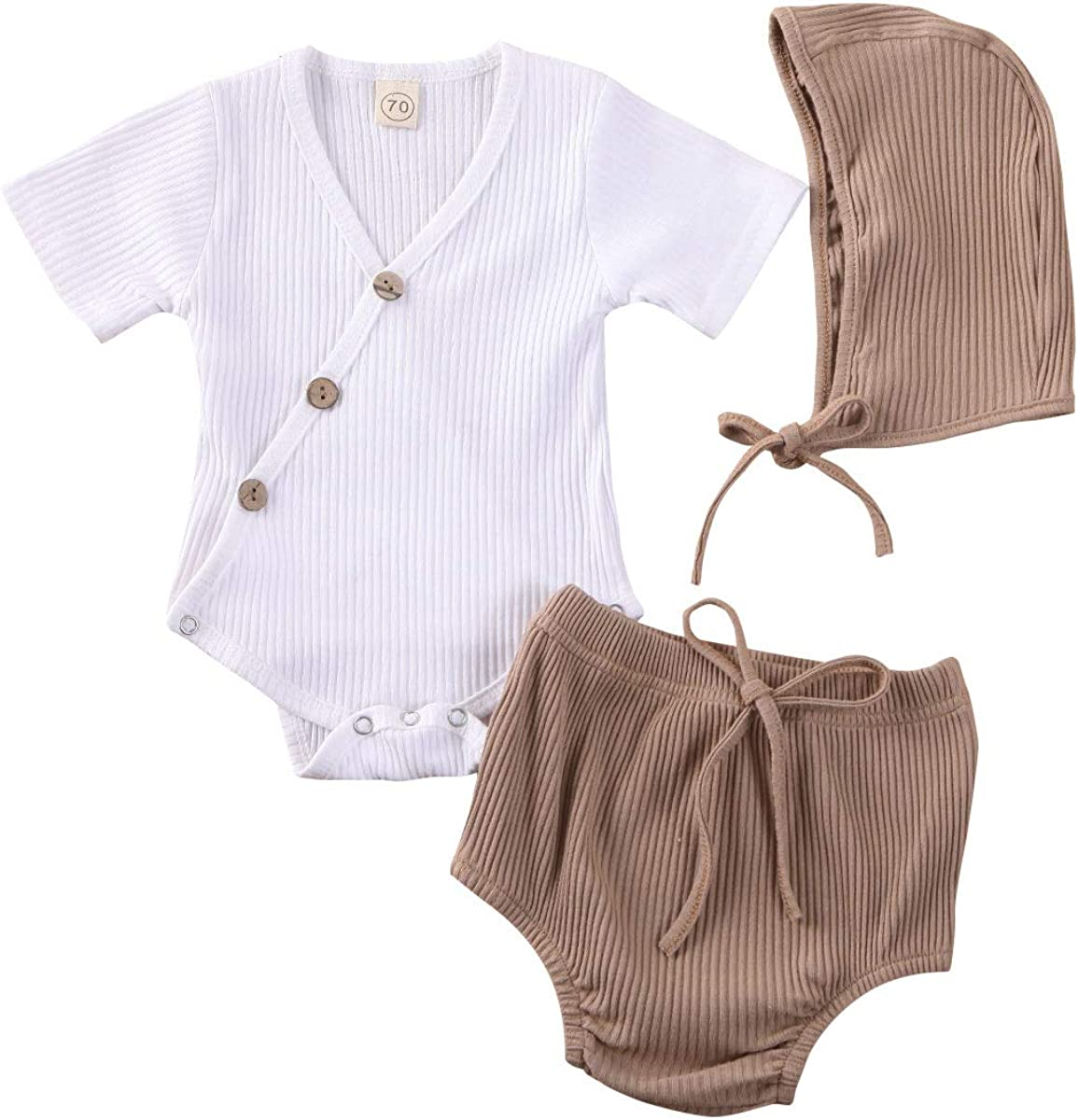 Muasaaluxi Unisex Newborn Baby Girls Boys Outfits Short Sleeve Romper Button Bodysuit Shorts Pants 2Pcs Clothes Set 0-18M