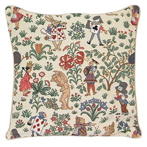 Signare tapiz cojines decorativos para sofacojines salon con diseño de flores y criaturas de jardín (18x18 pulgadas 45x45cm) (Alicia en el país de las Maravillas)