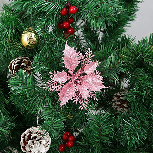 zorpia Pack of 12 Glitter Artificial Poinsettia Flowers Christmas Wreath Christmas Tree Flowers Ornaments 5.51''(14cm) Diameter with 12 Pcs Green Soft Stings (Pink)