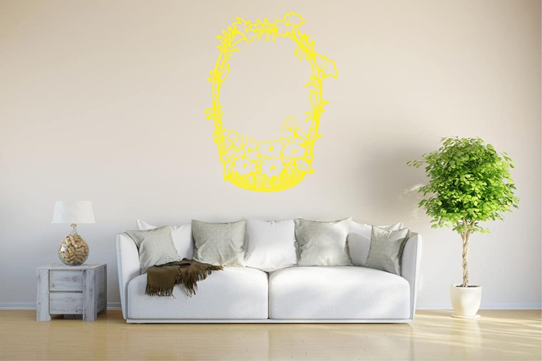 INDIGOS UG wall sticker d56 basket of flower 40x29 cm - yellow