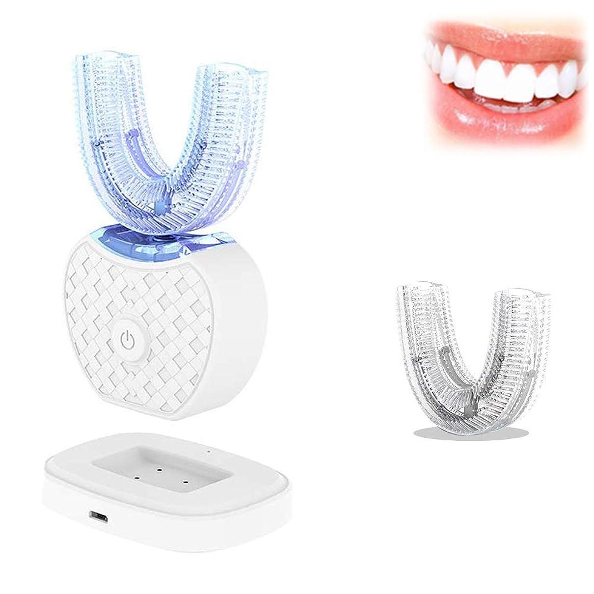 ご予約インゲンスイッチ電動歯ブラシフルオートマチック360°超音波ホワイトニングU型マウスクリーナー充電式ワイヤレスポータブルLEDランプFDA / IPX7 (Color : White)