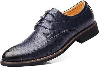 WEWIN ビジネスシューズ メンズ 革靴 ウォーキング レースアップ 型押し 大きいサイズ 靴 カジュアルシューズ 防滑 通気 軽量 柔らかい