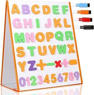 TTMOW Pizarra Blanca Magnética Escritorio Portable Plegable Doble Cara para Niños con 26 Letras, 10 Números, 5 Símbolos Matemáticos y 4 Lápices de Pizarra (37.5 * 32cm)