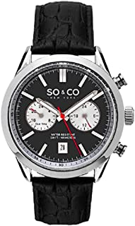 So & Co New York Monticello Men's Quartz Watch With Grey Dial Analogue Display and Black Leather Strap 5056.1