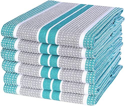 Paños de cocina de secado rápido, paños de bar, muy absorbentes, toallas de limpieza, toallas de cocina a rayas de gofres, 45,7 x...