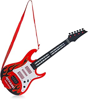 New Pinch Battery Operated Plastic Musical Rockband Guitar with Light and Sound (Red)