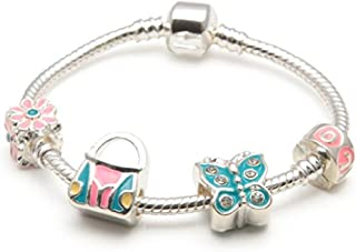 Liberty Charms Childrens 'Butterfly Heaven' Silver Plated Charm/Bead Bracelet