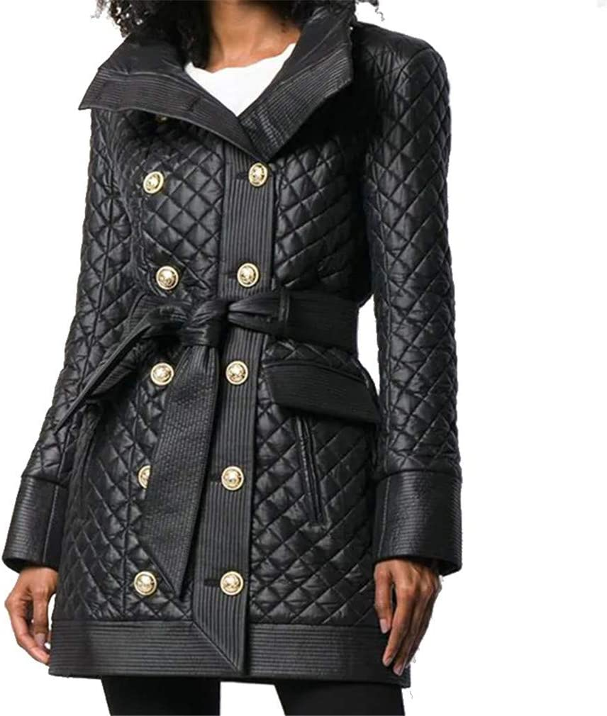 Women's Punk Leather Jacket Sheepskin Long Sleeves High Neck Warm Mid Length Casual Rock Motorcycle Moto Short Coat Outwear,Black,M